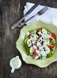 Fresh vegetable salad with feta cheese and tzatziki sauce Royalty Free Stock Photo
