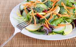 Fresh Vegetable Salad with Fork on Bamboo Mat Stock Photography