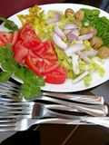 Fresh vegetable salad and forks. Fresh vegetable salad with tomatoes, onion, lettuce, peppers, celery leaves and forks on table Stock Photo