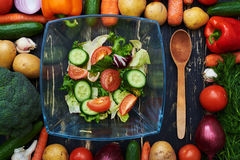 Fresh vegetable salad in a glass bow encircled in a frame made b. Overhead view of fresh vegetable salad in a glass bow encircled in a frame made by vegetables Royalty Free Stock Images