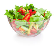 Fresh vegetable salad in glass bowl isolated on white background Royalty Free Stock Images