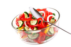 Fresh vegetable salad in a glass dish. Royalty Free Stock Photo