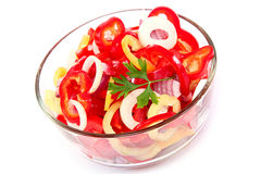 Fresh vegetable salad in a glass dish. Royalty Free Stock Photos