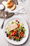 Fresh vegetable salad with grilled cheese Stock Images