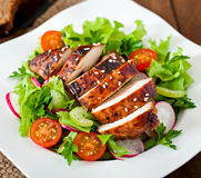 Fresh vegetable salad with grilled chicken breast Stock Images