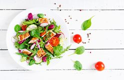 Fresh vegetable salad with grilled chicken breast - tomatoes, cucumbers, radish and mix lettuce leaves. Chicken salad. Healthy food. Top view stock photography