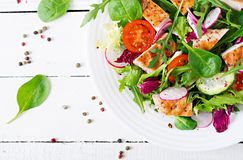 Fresh vegetable salad with grilled chicken breast - tomatoes, cucumbers, radish and mix lettuce leave. Fresh vegetable salad with grilled chicken breast Stock Photo