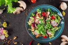 Fresh vegetable salad with grilled chicken breast - tomatoes, radish and mix lettuce leaves. Chicken salad. Healthy food. Black ba. Ckground. Top view Stock Photo