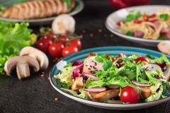 Fresh vegetable salad with grilled chicken breast - tomatoes, radish and mix lettuce leaves. Chicken salad. Healthy food. Black ba. Ckground. Top view Royalty Free Stock Photo