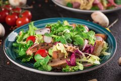 Fresh vegetable salad with grilled chicken breast - tomatoes, radish and mix lettuce leaves. Chicken salad. Healthy food. Black ba. Ckground. Top view Royalty Free Stock Photography