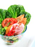 Fresh vegetable salad with ham Stock Images