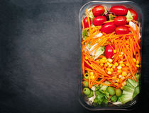 Fresh vegetable salad - Healthy food with copy space for text. H Royalty Free Stock Photo