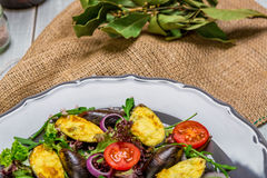 Fresh vegetable salad, healthy food, organic cucumbers,nmussels, tomatoes and salad leaves Royalty Free Stock Photography