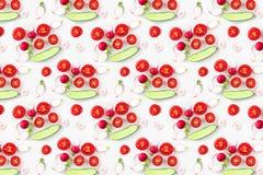 Fresh Vegetable Salad Ingredients Shot Above, pattern stock image
