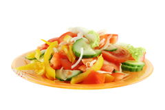 Fresh vegetable salad isolated on white Royalty Free Stock Photography