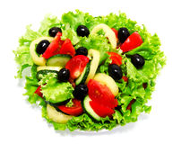 Fresh vegetable salad isolated on a white. Background Royalty Free Stock Photos