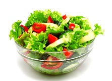 Fresh vegetable salad isolated on a white. Background Royalty Free Stock Photography