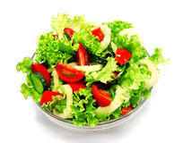 Fresh vegetable salad isolated on a white Royalty Free Stock Photo