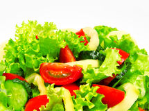 Fresh vegetable salad isolated on a white Stock Photos