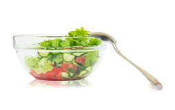 Fresh vegetable salad with lettuce, tomato and cucumber Stock Images