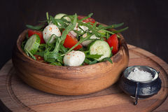 Fresh vegetable salad with mozzarella and arugula Stock Photography