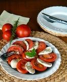 Fresh vegetable salad with mozzarella, tomato and basil Royalty Free Stock Photo