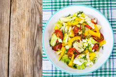 Fresh vegetable salad with olive oil Royalty Free Stock Photo