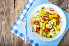 Fresh vegetable salad with olive oil Stock Photos