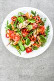 Fresh vegetable salad plate of tomatoes, spinach, pepper, arugula, chard leaves and grilled chicken breast. Fried chicken meat, fi Stock Image