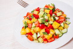 Fresh vegetable salad on plate Stock Photos