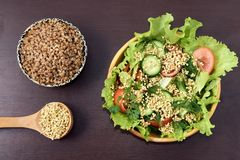 Fresh vegetable salad. Prospects buckwheat. Cooked porridge. Dark background. tomatoes and cucumber Royalty Free Stock Photos