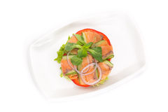 Fresh vegetable salad with smoked salmon Stock Photos