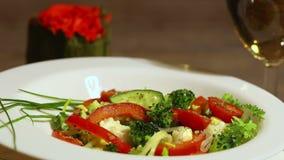 Fresh vegetable salad spinning 2 stock video