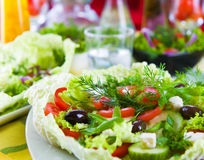 Fresh vegetable salad with tomato and cucumber Royalty Free Stock Photography