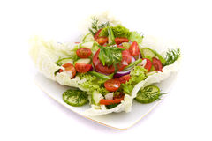 Fresh vegetable salad with tomato and cucumber Royalty Free Stock Image