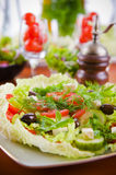 Fresh vegetable salad with tomato and cucumber Stock Images