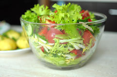 Fresh vegetable salad with tomato, cucumber and salad frisee Stock Photography