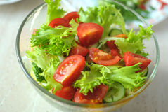 Fresh vegetable salad with tomato, cucumber and salad frisee Royalty Free Stock Photos