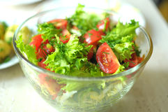 Fresh vegetable salad with tomato, cucumber and salad frisee Royalty Free Stock Image