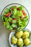 Fresh vegetable salad with tomato, cucumber and salad frisee Stock Photos