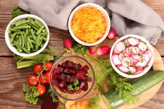 Vegetable salad, top view Stock Images