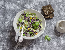 Fresh vegetable salad with white and red cabbage, cucumber, radish and cilantro in a ceramic dish on a stone texture. Stock Images