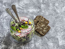 Fresh vegetable salad with white and red cabbage, cucumber, radish and cilantro in a glass jar on a stone texture. Royalty Free Stock Photos