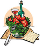 Fresh vegetable salad and wine vector illustration
