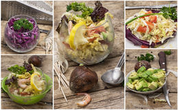 Fresh vegetable salads Stock Photo