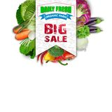 Fresh vegetable with sales banner Stock Photo