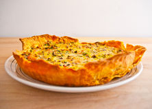 Fresh vegetable and salmon quiche tart Royalty Free Stock Images