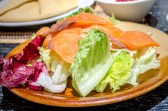 Fresh vegetable and salmon salad Royalty Free Stock Photo