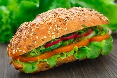 Fresh vegetable sandwich. With tomatoes, cucumbers and radish Stock Photos