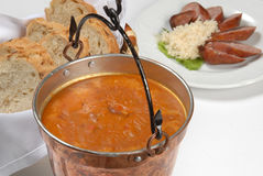 Fresh vegetable and sausage soup with bread Stock Photos